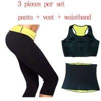 ( Pants + vest + waistband ) Super Stretch Neoprene Shapers Sports Clothing Set Women's Slimming Wai