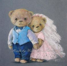 Ours en peluche Original peinture peinture pastel/Teddy bear