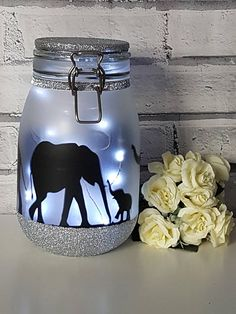 Gorgeous large elephant night Light Jar, perfect elephant gift, for elephant lovers of all ages. These Elephant Light jars are great as part of your elephant nursery room décor, as an elephant lamp around the home or they make the perfect gift for Christmas gift, birthday gift,