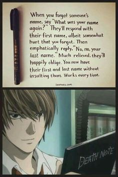 Lol how to get someones name Death Note