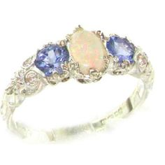 Ladies Solid Sterling Silver Natural Opal & Tanzanite English Victorian Style Trilogy Ring - Size 9 - Finger Sizes 5 to 12 Available