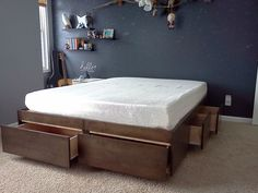 Platform Bed with Drawers dIY step by step