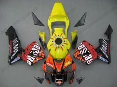 Injection Fairing kit for - Yellow, Black - Rossi Honda Cbr 600 Rr, Cbr 600rr, Plastic Injection Molding, Sportbikes, Honda Motorcycles, Motorcycle Accessories, Custom Paint, Custom Design, Abs