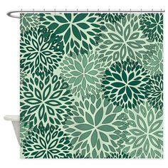Vintage Floral Pattern Green Shower Curtain