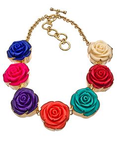 Charles Albert Multi Color Resin Rose Necklace
