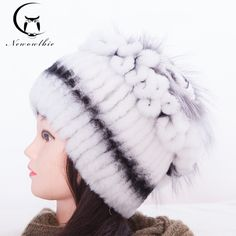 64.90$  Watch here - http://ali164.worldwells.pw/go.php?t=32666953388 - Sale 2016 Winter Hats For Women Fur Knitted Rex Rabbit Real Fur Hat With Fox Fur Flower On Top Free Size Casual Warm Women's Hat 64.90$