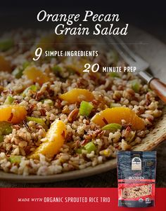 Pack a lunch you can look forward to! This simple Orange Pecan Grain Salad recipe combines truRoots Accents Organic Sprouted Rice Trio with zesty orange crunchy pecans and tender scallions. Salad Recipes, Diet Recipes, Vegetarian Recipes, Cooking Recipes, Healthy Recipes, Farro Recipes, Healthy Grains, Healthy Salads, Gastronomia