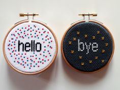 Hello and Bye -Embroidery Art-