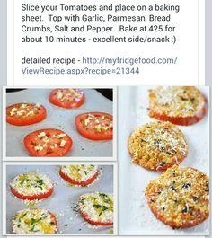 Cheesy garlic tomatoes