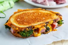Roasted Broccoli, Ham and Cheddar Grilled Cheese