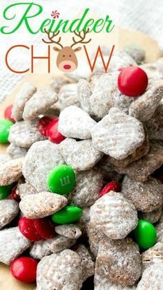 Reindeer Chow ~ a fun holiday twist... Chocolate and peanut butter coated crispy cereal, tossed in powdered sugar. Seriously the best snack ever!