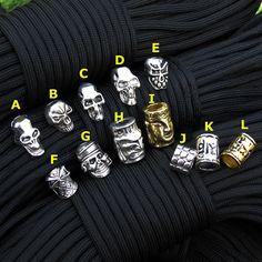Accesorios de Perlas de Metal Cráneo Encantos Para la Pulsera de Paracord Paracord Supervivencia, BRICOLAJE Colgante Hebilla para Paracord Knife Lanyards