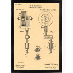 Samuel O'Rielly Electric Tattoo Machine Patent Poster                                                                                                                                                                                 Más