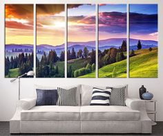 large canvas print mountain and sunlight wall art canvas print colored sunset and mountain