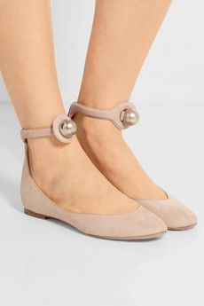 Faux pearl-embellished suede ballet flats