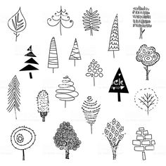 Vector illustration of a collection of Christmas trees Hand drawn christmas trees royalty-free stock vector art Doodle Drawings, Easy Drawings, Doodle Art, Doodle Trees, Adorable Drawings, Stoff Design, Christmas Graphics, Vector Christmas, Tree Illustration
