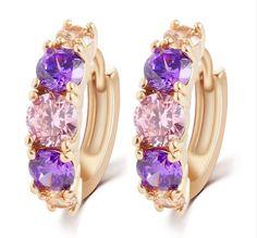 Amethyst Stud Earrings Made with Swarovski Elements #Swarovski #Stud