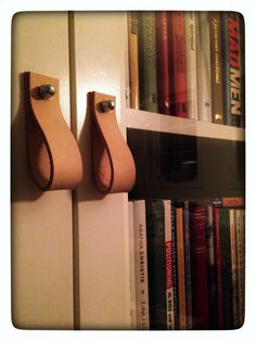 Billy bookcase, IKEA hack. Leather pulls...