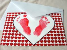 Footprint Valentine Card - cute poem inside!