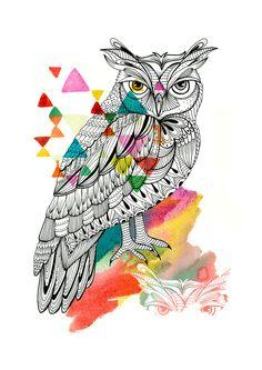 Graphic Owl Art Print