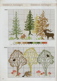 woodland with critters Cross Stitch Tree, Just Cross Stitch, Cross Stitch Animals, Cross Stitch Flowers, Cross Stitching, Cross Stitch Embroidery, Embroidery Patterns, Cross Stitch Christmas Ornaments, Christmas Cross