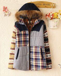 Yamalı Dikiş Kürk Yaka Kapşonlu Ceket