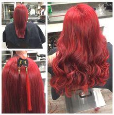 Asymmetrical Bob Haircuts, Long Bob Haircuts, Bob Hairstyles For Fine Hair, Trending Hairstyles, Pretty Hairstyles, Fire Red Hair, Bobs For Thin Hair, Tape In Hair Extensions, Red Hair Color