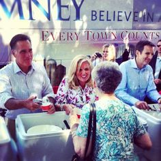 Mitt, Ann, and Governor Pawlenty serving ice cream in Milford, NH.