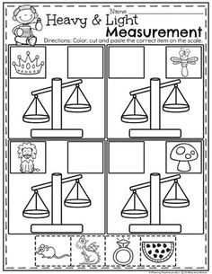 weight worksheets non standard measurement kindergarten grade