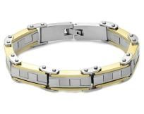 Mens Stainless Steel Silver/Gold Gear Teeth Link Cycle Chain Bracelet - FREE shipping!