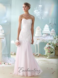 Strapless lace and chiffon fit and flare gown, semi-sweetheart neckline, elongated lace bodice with dropped waist, flowing skirt with sweep train. Matching shawl and removable straps included. Sizes: 4 – 20 Colors: Ivory/Pink, Ivory