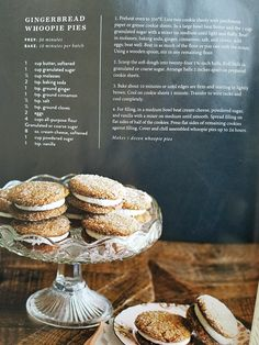 Gingerbread Whoopie Pies Joanna Gaines Magnolia Note - try adding lemon to filling. Christmas Desserts, Christmas Baking, Holiday Treats, Delicious Desserts, Yummy Food, Just Desserts, Cookie Recipes, Dessert Recipes, Fudge