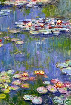 Monet - subtle contrast between red and green, and creation of green out of grays using relative colors, mid tone through drastic high and low temperature balance, canvas shape allows a lot of background with a close foreground