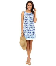 Lilly Pulitzer Cathy Shift Dress - Sweetly stylish fun. Sleeveless shift dress in cotton vintage dobby. Enchanting engineered print features dressed-up elephants.