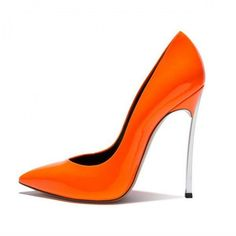 FSJ Shoes Orange Super Stiletto Heels Pointy Toe Patent Leather Pumps ($75) ❤ liked on Polyvore featuring shoes, pumps, patent pumps, orange pumps, stiletto pumps, sexy stilettos and sexy shoes
