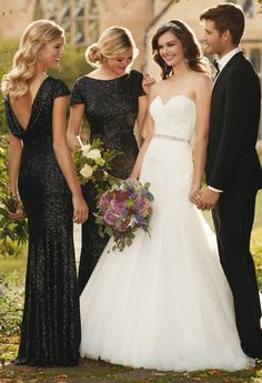 Elegant Black Bridesmaid Dresses are the perfect combination with a bride in white