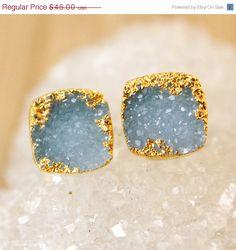SALE Gold Blue Druzy Stud Earrings  Druzy Gemstone Posts by OhKuol, $36.00