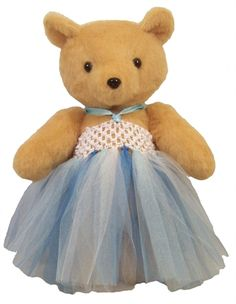 70498f51fc9 Nina -- Handmade teddy bear wearing a tutu. Personalization is done to  match the tutu.