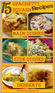15 Spaghetti Squash Recipes - if your kids don't usually like squash, get them cooking with you. Low Carb Recipes, Vegetarian Recipes, Cooking Recipes, Healthy Recipes, Light Recipes, Delicious Recipes, Healthy Foods, Yummy Recipes, Dessert Recipes