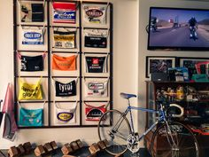 This must be in a display of musette bags in a bike shop, but it also provides inspiration for DYI wall decor.