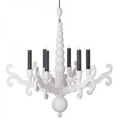 Kronleuchter für Kerzen Ljuskrona, weiß - Storebror #rustic #folksy #wood #chandelier