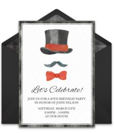 Free birthday party invitation with a classy top hat design. Love it for a milestone 30th birthday party! Goes perfectly with a formal theme.