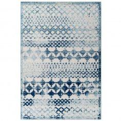 Blue & Ivory Diamond Trellis Indoor Outdoor Area Rug