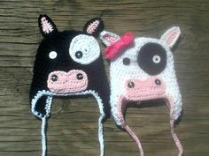 Crochet Moo Cow Hat Boy or Girl Any Sizes by BridgetsBabyBoutique, $15.00