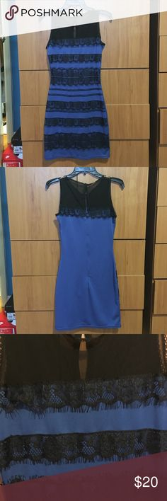Royal blue dress Royal blue cocktail dress with lace. Size medium but fits like a small. Never been worn. Perfect condition. A chic girl  Dresses Mini