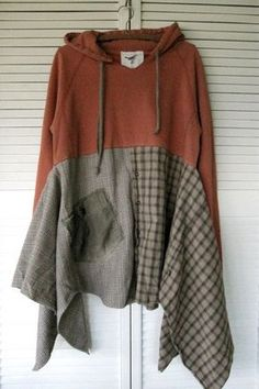 RESERVED for someone Eco upcycled clothing Wearable Art dress Funky Hoodie dress Jacket Casual Lagenlook Tunic Boho Artsy dress medium-XLarge-1X This dress is fun and flirty, frayed, edgy, Original.....one of a kind Tunic/dress. Perfect for layering, cute and comfy............ Made with a cotton hoodie, I add medium weight recycled shirt pieces for the bottom and an appliqued pocket ..........very uniqe and Funky The colors are.......