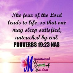 "PROVERBS 19:23 NAS ""The fear of the LORD leads to life, So that one may sleep satisfied, untouched by evil."""
