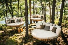 Lounge swings made from old trampolines!!  (Sorry, no info only image)