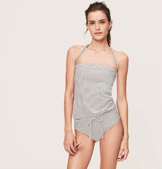 LOFT Beach Stripe Tie Waist One Piece Swimsuit | Loft
