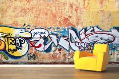 Rustic Wall Graffiti Mural Wallpaper